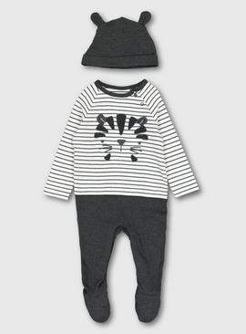 Grey Tiger Sleepsuit & Hat