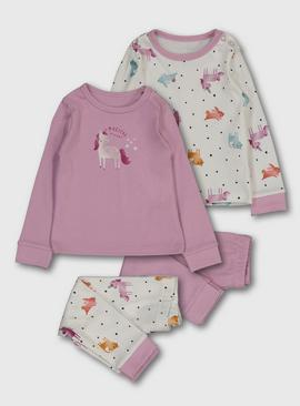 Mauve 'Magical Dreams' Unicorn Print Pyjamas 2 Pack
