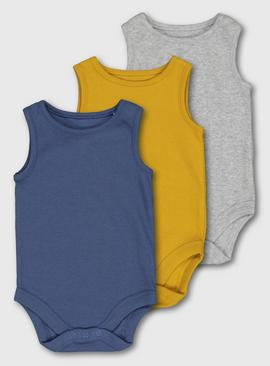 Multicoloured Ribbed Vest Bodysuit 3 Pack