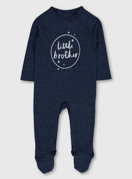 Navy Marl & Silver 'Little Brother' Sleepsuit