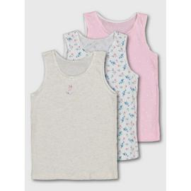 Flower, Spot & Bunny Print Vests 3 Pack