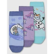 Disney Frozen 2 Blue Sparkle Ankle Socks 3 Pack