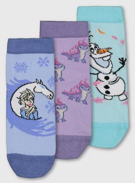 Blue /& Purple Disney Frozen Kids Socks 3 Pack