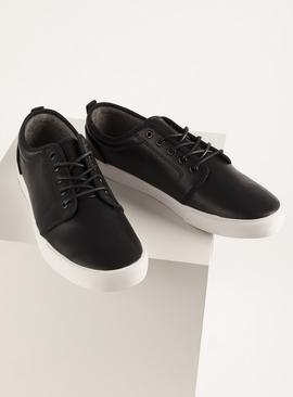 Black Faux Leather Casual Lace Up