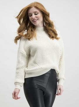 VILA Winter White Turtle Neck Long Sleeve Jumper