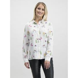 Online Exclusive Christmas White Flamingo Print Shirt