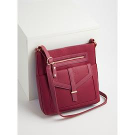 Berry Red Washed Cross Body Bag - One Size