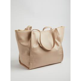 Nude Oversized PU Shopping Bag - One Size