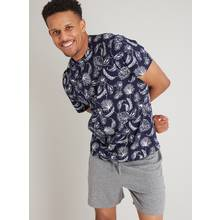Navy & Grey Leaf Print Shortie Pyjamas