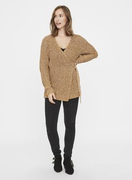Brown Knitted Maternity Cardigan