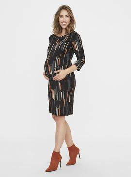 Black Abstract Print Maternity Dress