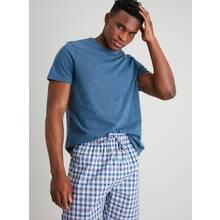 Blue Marl & Orange Check Short Pyjamas