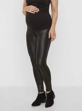 Black High Waisted Shiny Maternity Leggings