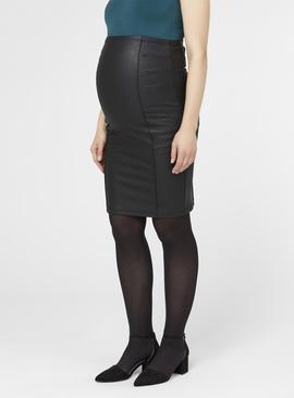 Black Coated Bodycon Maternity Skirt