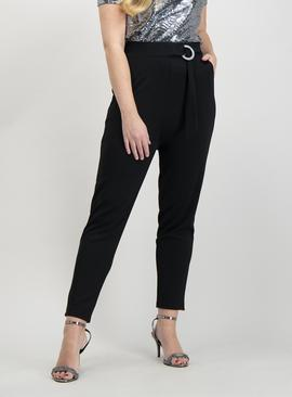 Black Jersey Belted Tapered Trousers