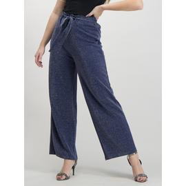 Navy Sparkle Wide Leg Trousers