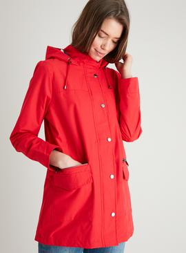Red Jersey Stripe Lined Shower Resistant Raincoat