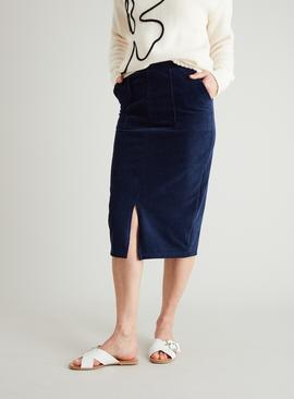 Navy Cord Pull On Pencil Skirt