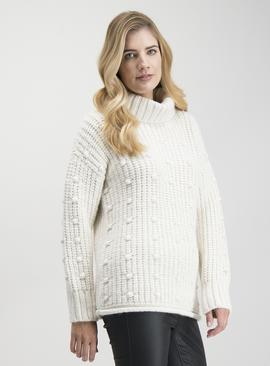 Cream Roll Neck Bobble Jumper