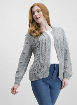 Grey Cable Knit Bobble Detail Cardigan