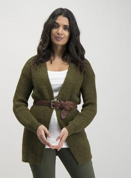 Olive Green Button Detail Cardigan