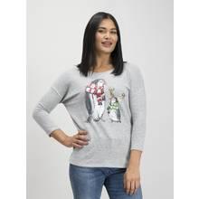 Christmas Grey Sequin Penguin Knitlook Top