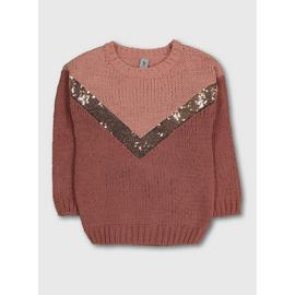 Pink Sequin Chevron Knitted Jumper