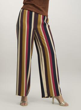 Multicoloured Stripe Woven Wide Leg Trousers