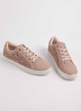 Pink Laser Cut Floral Trainers