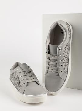 Grey Laser Cut Floral Trainers
