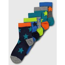 Teal & Multi Star Socks 5 Pack