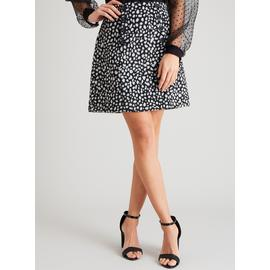 Monochrome Abstract Spot Brushed Mini Skirt