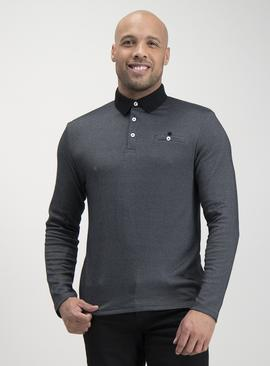 Black Cross Dye Long-Sleeved Polo Shirt