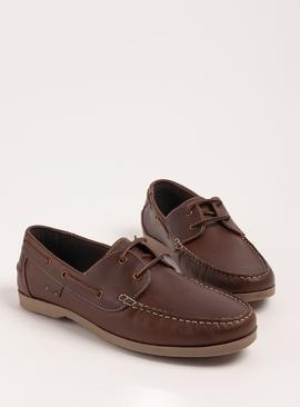 Sole Comfort Brown Leather Boat Shoes