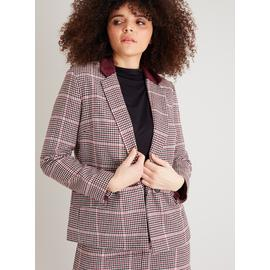 Pink Houndstooth Corduroy Collar Hacking Jacket