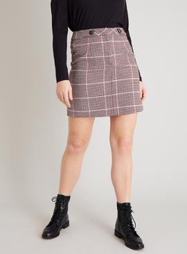 Pink Houndstooth Mini Skirt