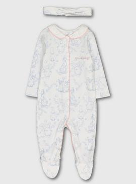 Peter Rabbit Cream & Blue Sleepsuit & Headband
