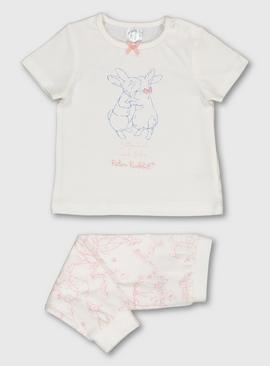 Peter Rabbit Ivory & Pink Short Sleeved Pyjamas