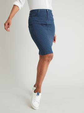 Dark Denim Pinstripe Pencil Skirt With Added Stretch