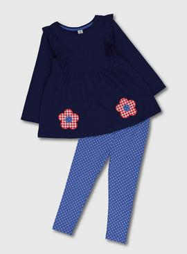 Navy Flower Appliqué Tunic & Leggings