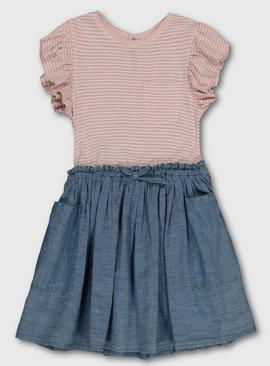 Pink Stripe & Chambray T-Shirt Dress