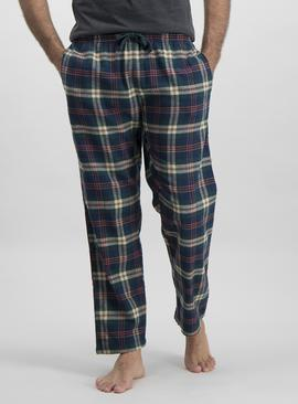 Dark Green & Navy Check Pyjama Bottoms