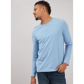 Pale Blue Long Sleeve Plain T-Shirt