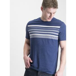 Blue Marl & Stone Stripe Placement T-Shirt