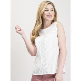 White Schiffli Lace Shell Top