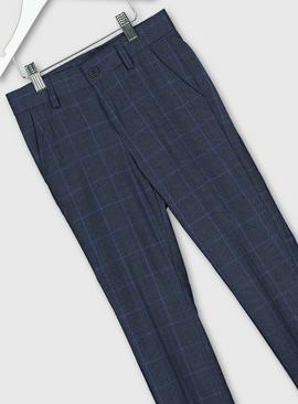 Blue Check Formal Trousers