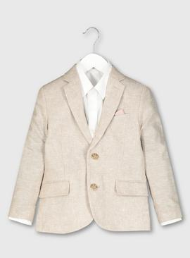 Beige Linen Blend Formal Jacket