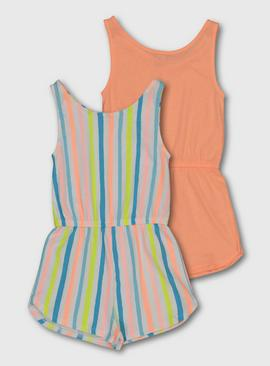 Multicoloured Stripe Neon Playsuit 2 Pack