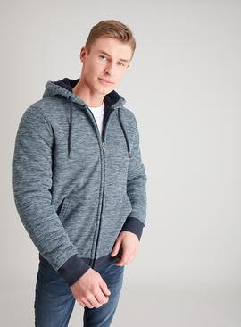 Navy Textured Borg Lined Zip-Through Hoodie