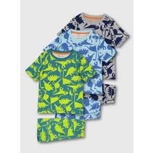 Blue & Grey Dinosaur Shortie Pyjamas 3 Pack